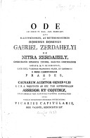 Ode ad diem IV  kal  jan  M DCC XCV      qua     dominus Gabriel Zerdahelyi     capituli Vaciens  Suffragiis     renunciatus est