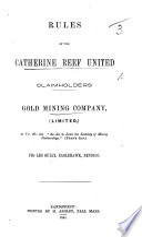 Rules of the Catherine Reef     Company     Peg Leg Gully  Eaglehawk  Bendigo
