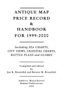 Antique Map Price Record   Handbook for