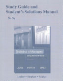Study Guide and Student's Solutions Manual Statistics for Managers Using Microsoft Excel