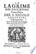 Le Lagrime del Peccatore; poema eroico ... dato nuovamente in luce