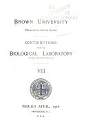Contributions from the Biological Laboratory  formerly Anatomical Laboratory