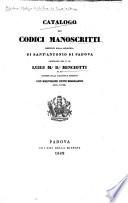 Catalogo dei codici manoscritti esistenti nella Biblioteca di Sant Antonio di Padova