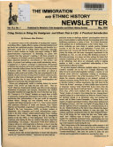 The Immigration and Ethnic History Newsletter