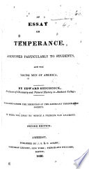 An Essay on Temperance  addressed particularly to Students     Second edition