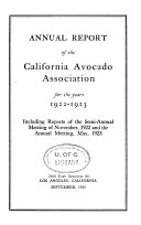 Yearbook Of The California Avocado Society For The Year