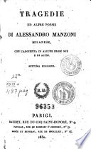 Tragedie ed altre poesie di Alessandro Manzoni