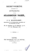 Redevoering uitgesproken bij de inwijding van het Akademisch paleis ... 3.den van wijnmaand 1826
