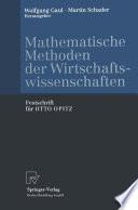 Mathematische Methoden der Wirtschaftswissenschaften