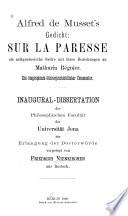 """Alfred de Musset's Gedicht """"Sur la paresse"""" als zeitgenössische Satire, mit ihren Beziehungen zu Mathurin Régnier"""