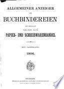 Allgemeiner Anzeiger f  r Buchbindereien