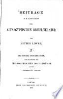 Beiträge zur Kenntniß der altägyptischen Briefliteratur