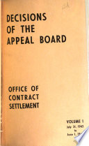 Decisions of the Appeal Board  Office of Contract Settlement Book PDF