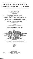 National War Agencies Appropriation Bill  Hearings