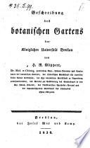 Beschreibung des botanischen Gartens der Königlichen Universität Breslau