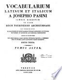 Vocabularium Latinum Et Italicum A Josepho Pasini