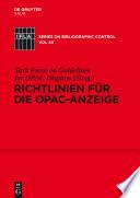 Richtlinien f  r die OPAC Anzeige