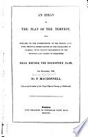 An Essay on the Play of The Tempest