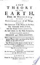 a new theory of the earth from its original to the consummation of all things