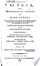 Ogygia  or  A chronological account of Irish events  tr  by J  Hely