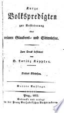 Kurze Volkspredigten zur Bef  rderung einer reinen Glaubens  und Sittenlehre  3  Aufl