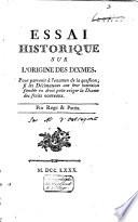 Essai historique sur l'origine des dixmes