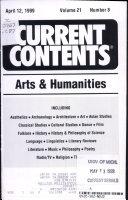 Current Contents Arts Humanities Volume 21 Number 8