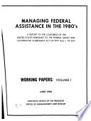 Managing Federal Assistance In The 1980 S