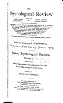Sixteen Experimental Investigations From The Harvard Psychological Laboratory