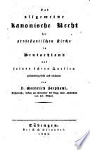 Das allgemeine kanonische Recht der protestantischen Kirche in Deutschland