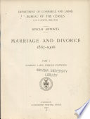 Special Reports   Marriage and Divorce  1867 1906