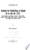 Geschichte der Fabeldichtung in England bis zu John Gay  1726