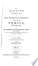 An Account Of The Transactions Of His Majesty S Mission To The Court Of Persia