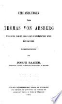 Verhandlungen über Thomas von Absberg und seine Fehden gegen den Schwäbischen Bund 1519-153O
