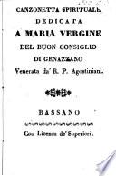 Canzonetta Spirituale Dedicata A Maria Vergine Del Buon Consiglio Di Genazzono  Venerata da  R  P  Agostiniani