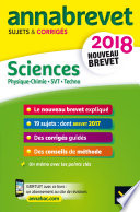 Annales Annabrevet 2018 Physique chimie SVT Technologie 3e
