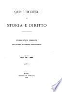 Studi e documenti di storia e diritto