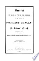 Memorial Sermon and Address on the Death of President Lincoln