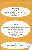 Proceedings of the International Conference on Number Theory  Moscow  September 14 18  1971
