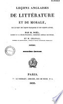 Leçons anglaises de littérature et de morale...