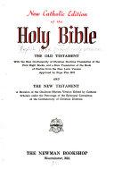 New Catholic edition of the Holy Bible