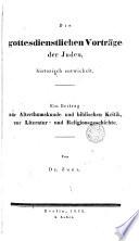 Die gottesdienstlichen Vorträge. ecu Juden