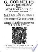 C  Cornelio Tacito     Aforismi politici