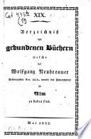 Verzeichnis von gebundenen Büchern, welche bei Wolfgang Neubronner in Ulm zu haben sind