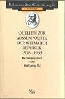 Quellen zur Aussenpolitik der Weimarer Republik 1918 1933