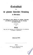 Zentralblatt für die gesamte Unterrichtsverwaltung in Preußen