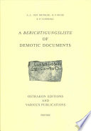 A Berichtigungsliste of Demotic Documents  Ostrakon editions and various publications