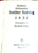 Kürschners deutscher Reichstag: 1930