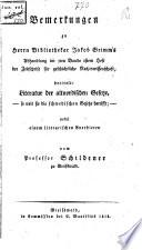 Bemerkungen Zu Jac Grimm S Abhandlung Betitelt Literatur Der Altnordischen Gesetze