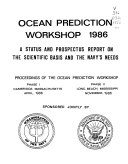 Ocean Prediction Workshop 1986